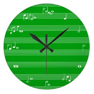 Reloj de tiempo de la notación de música - verde y