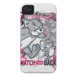 Reloj de Tom y Jerry su parte posterior iPhone 4 Carcasa
