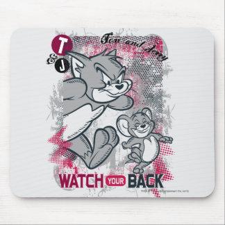 Reloj de Tom y Jerry su parte posterior Alfombrilla De Ratón