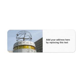 Reloj de Worldtime en Berlín Etiqueta De Remite