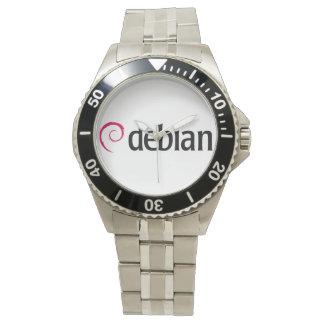 reloj debian del cuarzo del logotipo de Linux