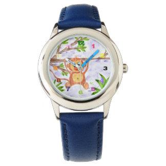Reloj del acero inoxidable del niño del mono de la
