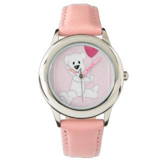 Reloj del acero inoxidable del oso polar del niño