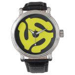 reloj del adaptador de 45 RPM (amarillo en negro)