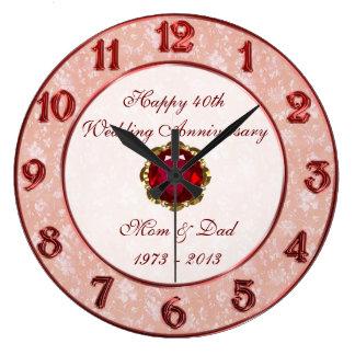 Reloj del aniversario de boda del damasco 40 o