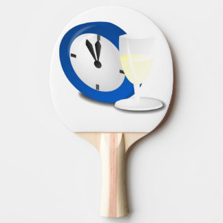 Reloj del Año Nuevo y vidrio de vino Pala De Ping Pong