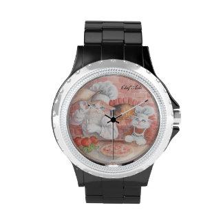 Reloj del árbol del cocinero de la pizza