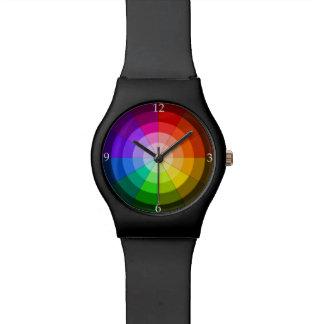 Reloj del arco iris de la rueda de color