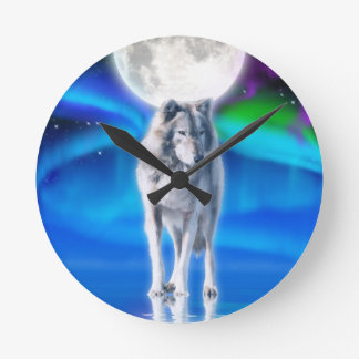 Reloj del arte de la fauna de la luna del lobo