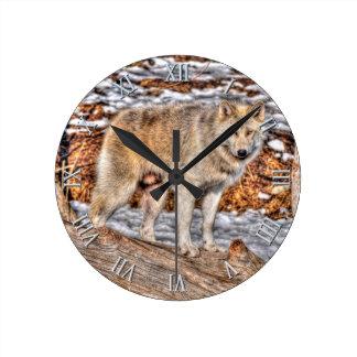 Reloj del arte de la fauna de White Wolf, de la ni