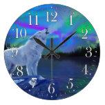 Reloj del arte de la fauna del lobo y de la aurora