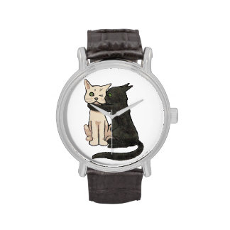 Reloj del arte de los gatos del vintage que se bes