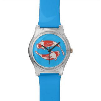 Reloj del azul de los pescados de Koi