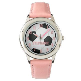 Reloj del balón de fútbol del chica personalizado
