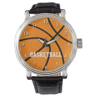 Reloj del baloncesto con el texto de encargo