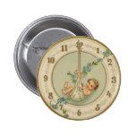 Reloj del bebé de los Años Nuevos del vintage Pin Redondo De 2 Pulgadas