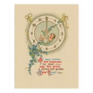 Reloj del bebé de los Años Nuevos del vintage Postal