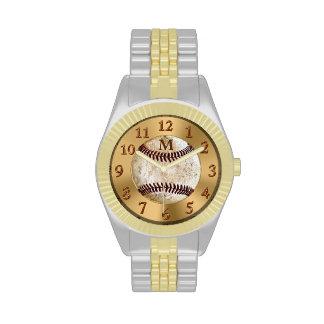 Reloj del béisbol del vintage del monograma o del