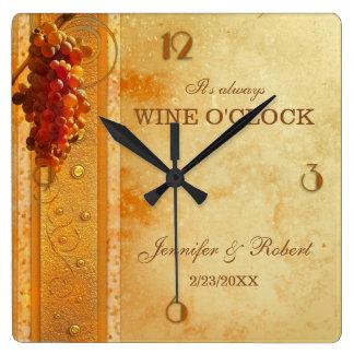 Reloj del boda del en punto del vino