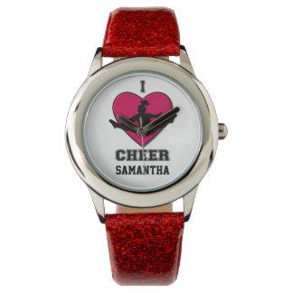 Reloj del brillo de la animadora en rojo