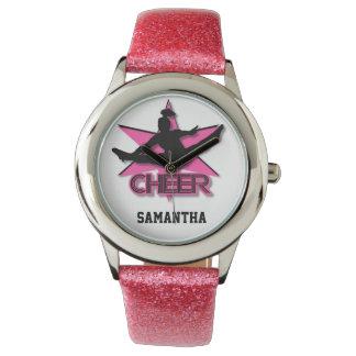 Reloj del brillo de la animadora en rosa