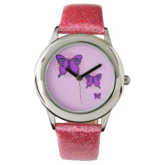 Reloj del brillo de la mariposa del encanto