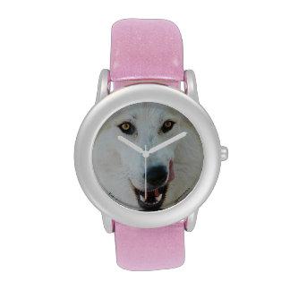 Reloj del brillo del rosa del lobo