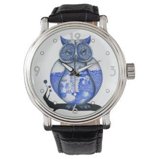 """Reloj """"del búho azul del sauce"""""""