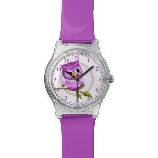Reloj del búho del bebé de la diversión en púrpura