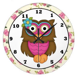 Reloj del búho del dibujo animado