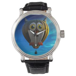 Reloj del búho del globo del aire caliente