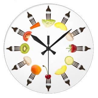 Reloj del café de la bifurcación de la comida de