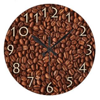 Reloj del café de los granos de café o de pared