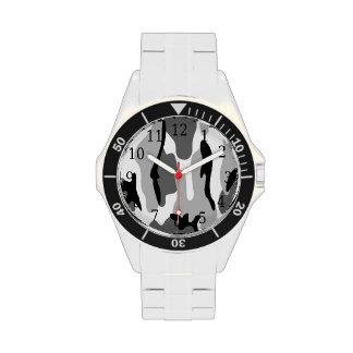 Reloj del camuflaje del gris y del negro