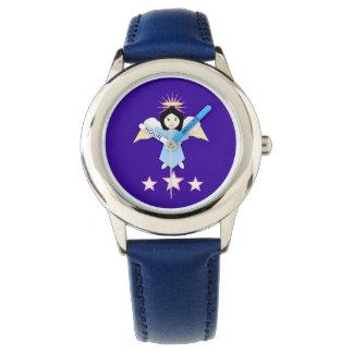 Reloj del chica del ángel del pelo negro
