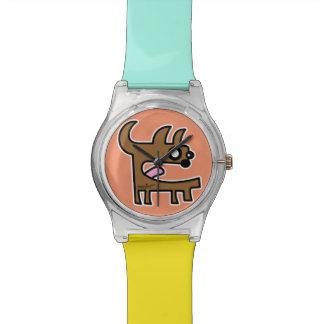 Reloj del chica del perro de diablo