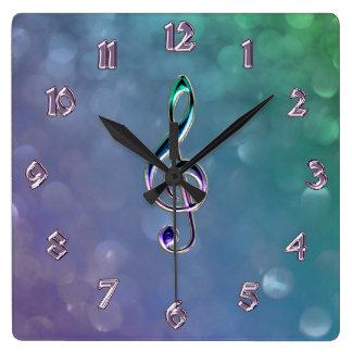 Reloj del Clef de la música del vidrio y del diseñ