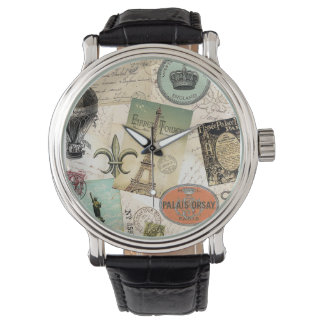 Reloj del collage del viaje del vintage