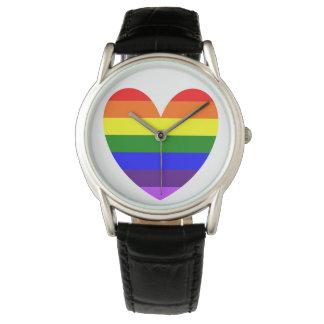 Reloj del corazón del arco iris