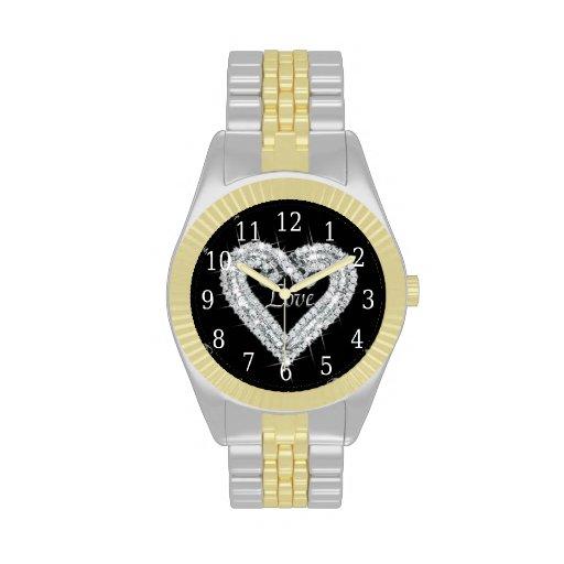 Reloj del corazón del diamante del amor