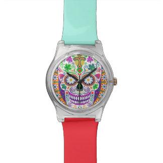 Reloj del cráneo del azúcar, banda de muñeca