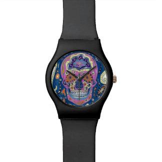 Reloj del cráneo del azúcar del tatuaje