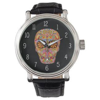 Reloj del cráneo del azúcar - día de los muertos