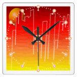 Reloj del cuadrado de la noche del escarlata