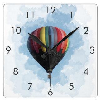 Reloj del cuadrado del globo del aire caliente