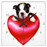 Reloj del cuadrado del perro de Boston Terrier