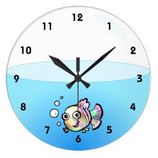 Reloj del cuenco de los pescados del dibujo animad