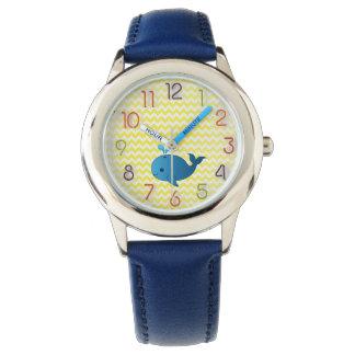 reloj del cuero de niño de la ballena azul