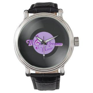 Reloj del cuero de VintageBlack del expediente de