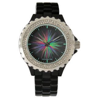Reloj del diamante artificial, cara negra del